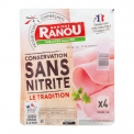 Jambon conservation sans nitrite - Jambon avec conservation sans nitrite. Porc français. Fabriqué en France.<br><br>Sélectionné pour l'offre de charcuterie sans nitrite.<br>