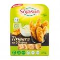 Fingers Sojasun - Nuggets de soja avec sauce vegan à dipper. Riche en protéines végétales. Sans conservateur. Soja français.<br><br>Sélectionné pour la praticité du produit et l'usage finger food pour des produits à base de soja.<br>
