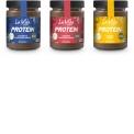 La Vida Vegan Protein - La Vida Vegan PROTEIN est la dernière addition de Brinkers à la gamme La Vida Vegan. Cette pâte à tartiner riche en protéines est réduite en sucre, 100% biologique, vegan, sans huile de palme, sans gluten, sans soja et Fairtrade. Le trois variétés: caramel, noix de coco et noisette aux éclats.