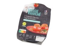 Tomates farcies - Tomates farcies végétariennes en barquette micro-ondable. Source de fibres. Riche en protéines. Prêt en 3 minutes. Pour 1 personne.<br><br>Sélectionné pour l'alternative végétale à la spécialité française (tomate farcie).<br>