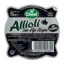 Aïoli à l'ail noir mortier 70 ml - Sauce aïoli à l'ail noir. Produit frais. Sans gluten. Sans colorants.<br><br>Sélectionné pour le caractère original de l'utilisation de l'ail noir.<br>