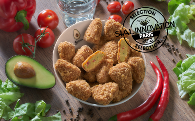 Bites of guacamole breaded with cheese and cream from  Salud Foodgroup Europe, selected at the SIAL Innovation 2018.